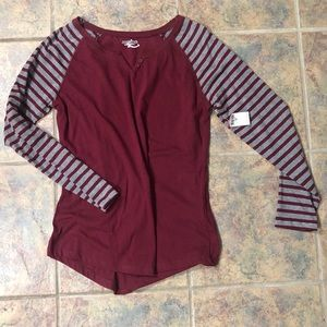 NEW W TAGS maroon comfy striped long sleeved tee